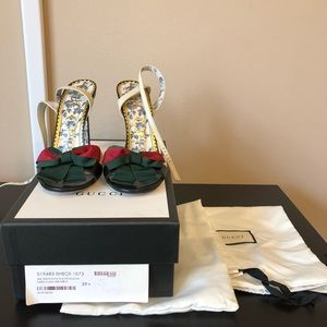 GUCCI Leather Sandal Heel with Web Bow